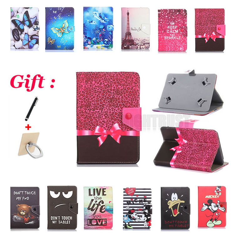 Universal 7 inch Cartoon Pu Leather Stand Case for Prestigio MultiPad <font><b>Wize</b></font> 3407 4G PMT3407 4G 7