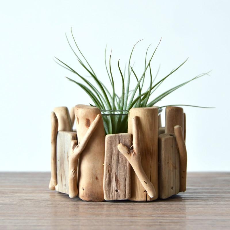 Unique rétro pastorale En Bois fait main Petite Clôture Plante pot de fleur décoratif de Bureau pot