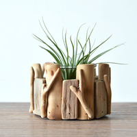 Unique retro pastoral handmade Wooden Small Fence Plant flower pot Desktop decorative pot
