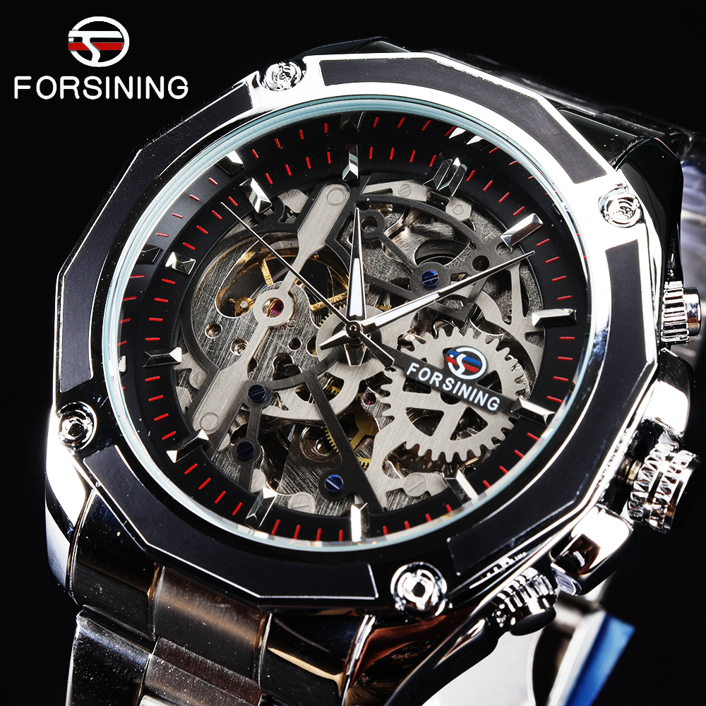 Watch Men FORSINING Relogio Masculino Skeleton Automatic Watch Winder Mens Watches Top Brand Luxury Mechanical Gold Wristwatch rosdn luxury men gold watches famous brand men s automatic mechanical watch mans gold skeleton mechanical wristwatch