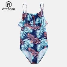 Attraco Girls One Piece Swimsuits Leaf Print Swimwear Ruffle Kids Bikini Adjustable Strap Beach Wear