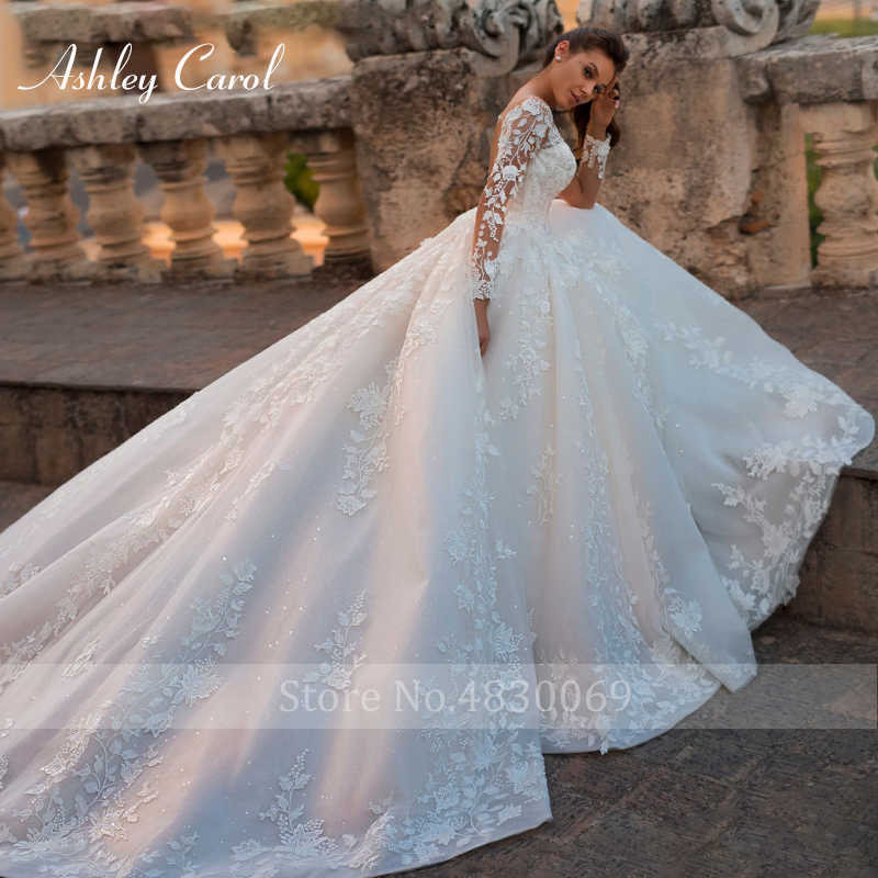 Ashley Carol Sexy cuello en V manga larga de tul boda Vestido 2019 Tribunal tren vestido de novia de encaje Vintage boda de la princesa vestidos