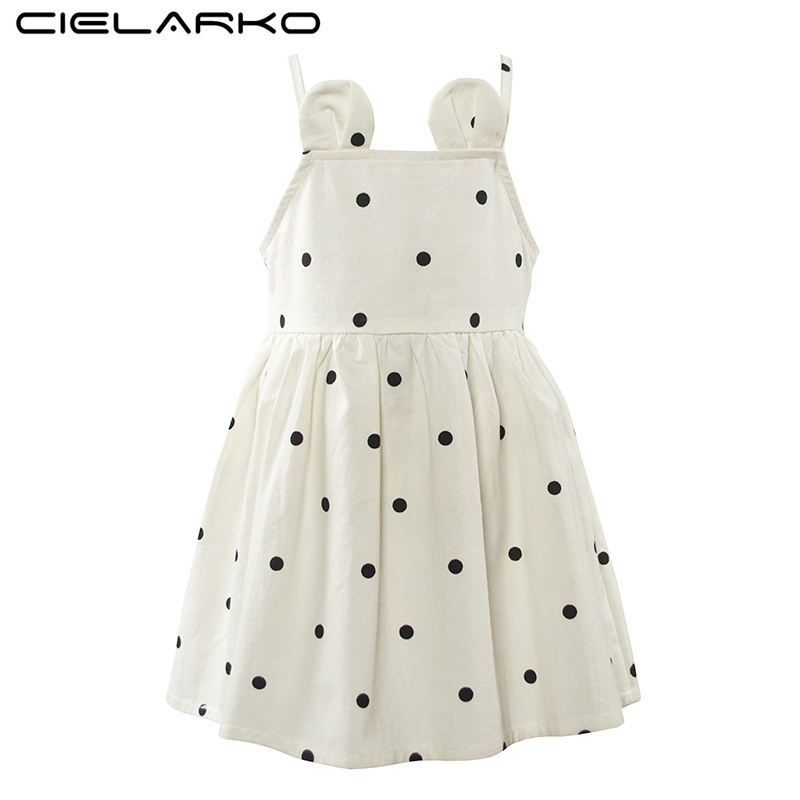 Cielarko Summer Girls Dress Strapless Baby Party Dresses Fancy Polka Dot Children Holiday Dress Niños Ropa de playa para niña