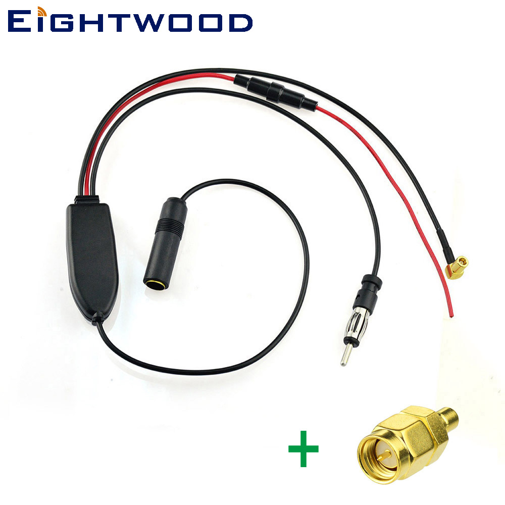 Eightwood Conversion FM/AM to DAB/DAB+/FM/AM car radio aerial converter/splitter/Amplifier with SMB to SMA connectors