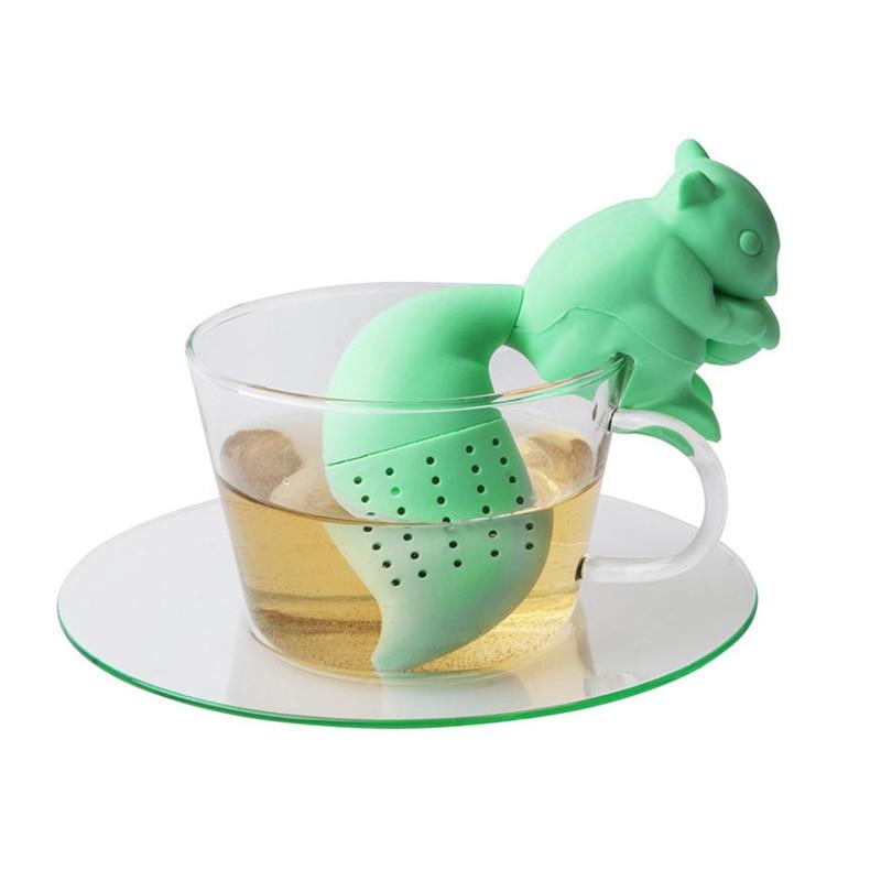 Tea Infuser Silicone Cute Squirrel Shape Tea Coffee Loose Leaf Strainer Bag Mug Filter Teapot Teabags Drinkware Gifts E2