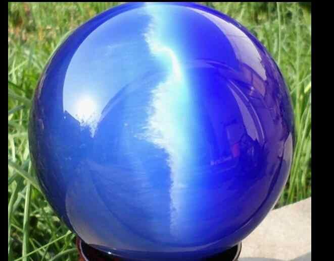 SCY 6680119 + + + 80 MM + Stand Asian Quartz Biru Cat Eye Crystal Ball Penyembuhan Sphere