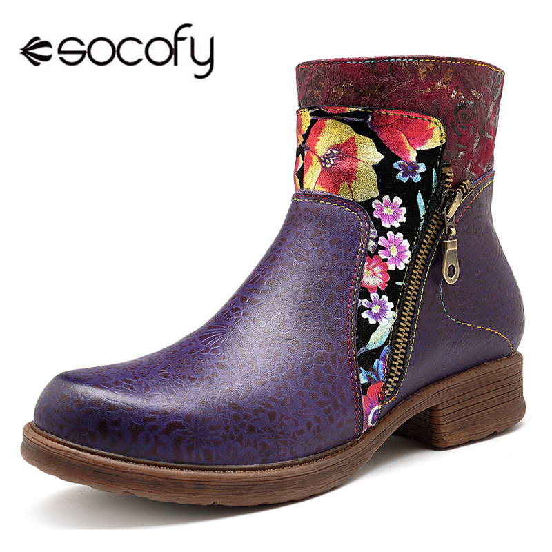 цена на Socofy Retro Genuine Leather Novelty Western Cowboy Women Boots Vintage Printed Bohemian Zipper Casual Ankle Boots Women Shoes