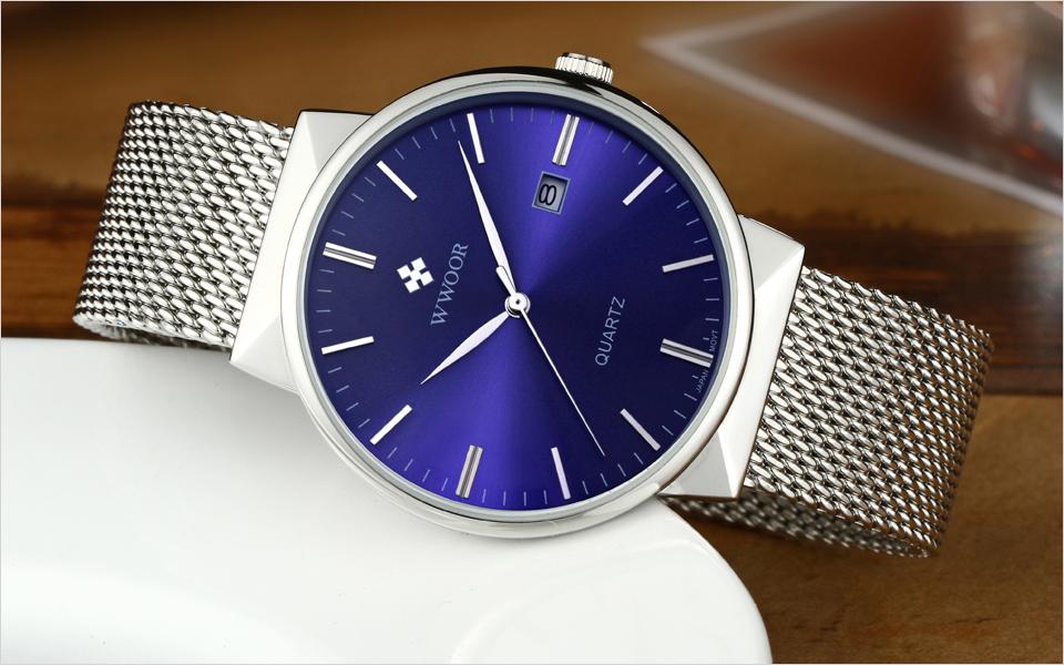 WWOOR Brand Luxury Men Waterproof Stainess Steel Casual Gold Watches Men's Quartz Sport Wrist Watch Male Clock relogio masculino 8
