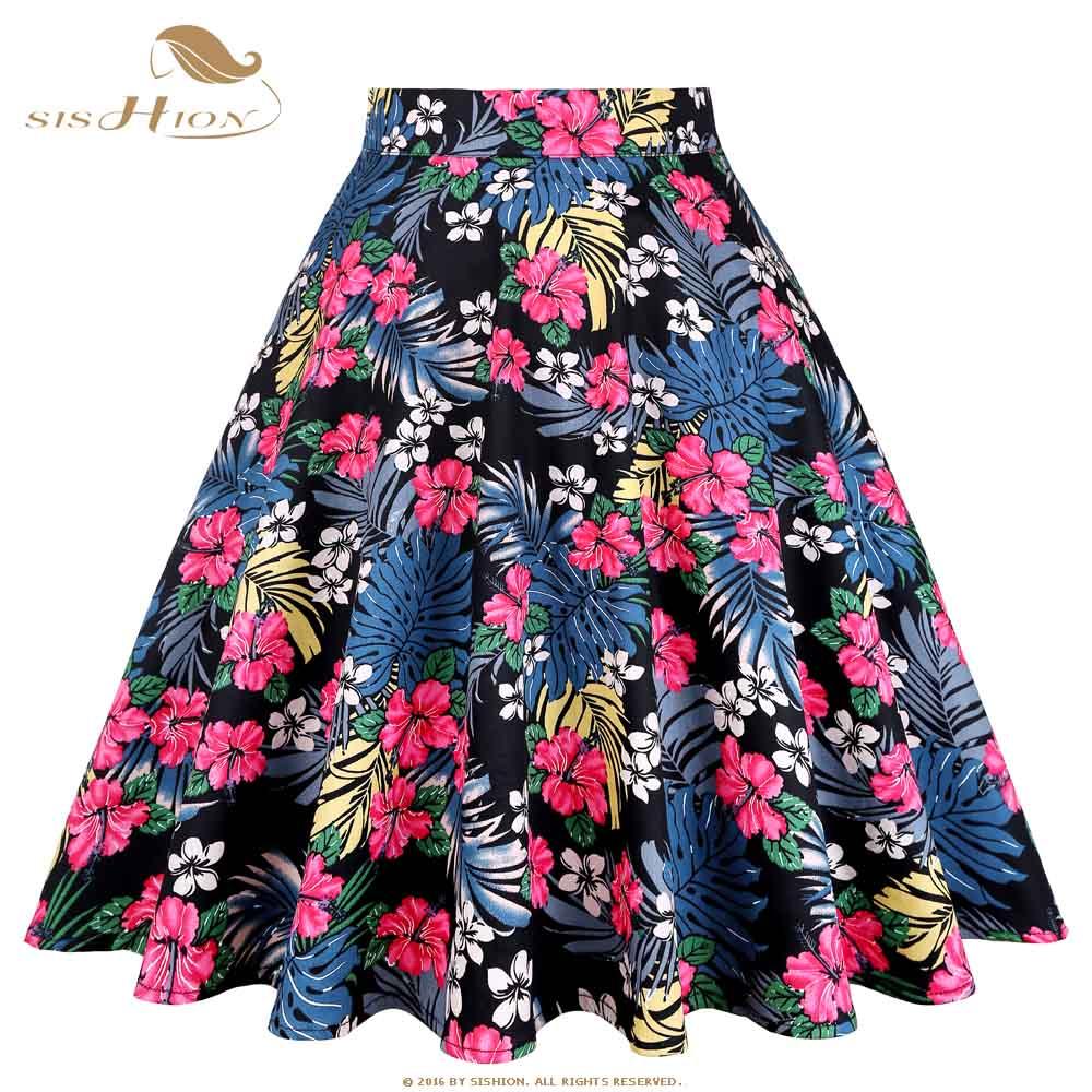 SISHION Floral Skirt High Waist Women Black Palm Flower Print Skater Vintage 50s Plus Size Sexy Short Beach Summer Skirt VD0561