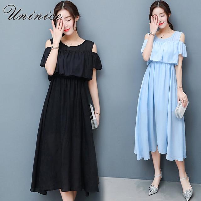 09d461cc1f7a Uninice летнее платье женская одежда большого размера с плеча оборками  богемное платье пляжное длинное шифоновое