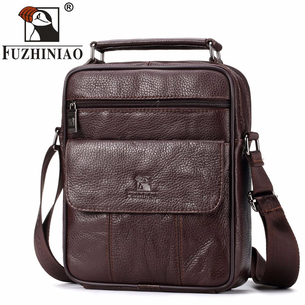 FUZHINIAO Fashion Designer High Quality Genuine Leather Men Shoulder Bag Casual Zipper Office Messenger Bags For Crossbody Bags