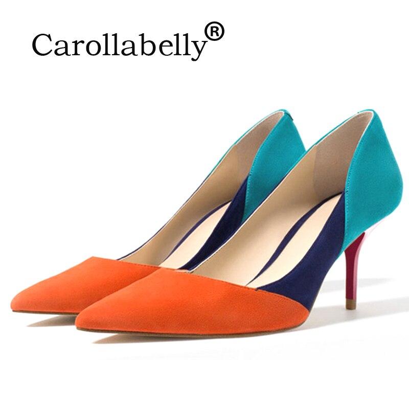 Туфли с вырезами смешанные цвета высокие каблуки оранжевый синий серый обнаженный острый носок красная роза 7 см каблук