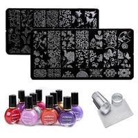 Biutee 2Pcs Nail Art Stamping Plate 2Pc Nail Stamp Polish Clear Stamper Scraper Set Nail Art