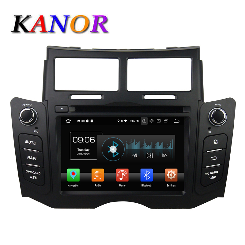 Android 8.0 Car DVD Player For Toyota Yaris 2006 2012 GPS Navigation System With Car Audio Stereo Octa Core 4+32G KANOR