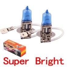 Farol de halogênio para carro, 2 peças, h3, 100w, 24v, 12v, lâmpadas de estacionamento de fonte, lâmpadas brancas lâmpada de farol de alta potência super brilhante