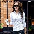O novo outono e inverno estudante Ms. cartilha Magro thin white T-shirt de lapela das mulheres algodão longo-sleeved