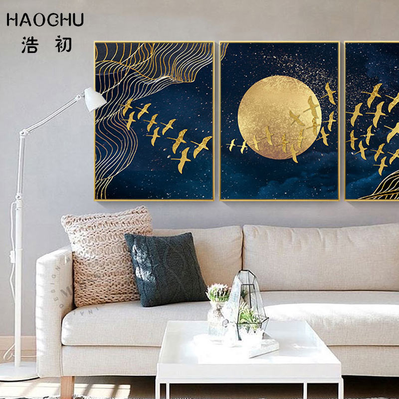Image 2 - HAOCHU New Chinese Style Golden Moon Bird Abstract Auspicious Art Poster Print Picture Home Decor Wall Sticker Canvas Painting-in Painting & Calligraphy from Home & Garden