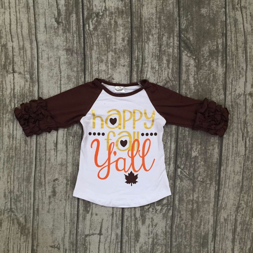 new Fall baby girls brown happy for y'all boutique top t-shirts children clothes icing half sleeve cotton raglans Maple leaves