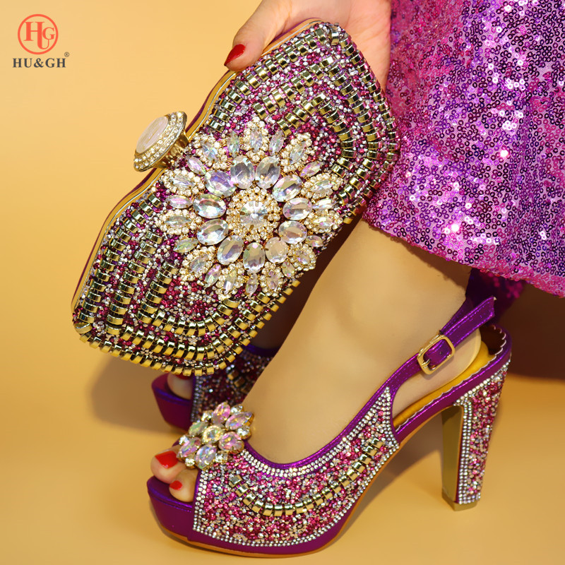 Newest Italian shoes and bag to match women high heel African Heels shoes and clutches bag Purple Color flower shoe and bag set doershow shoes and bag to match italian peach color women shoe and bag to match for parties african shoe and bag set lulu1 14