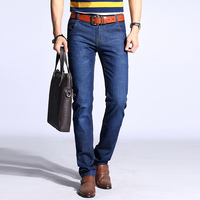 2018 Men Slim Fit Jeans Blue Straight Denim Male Trousers Classic Warm Jeans Mid Weight Fabric