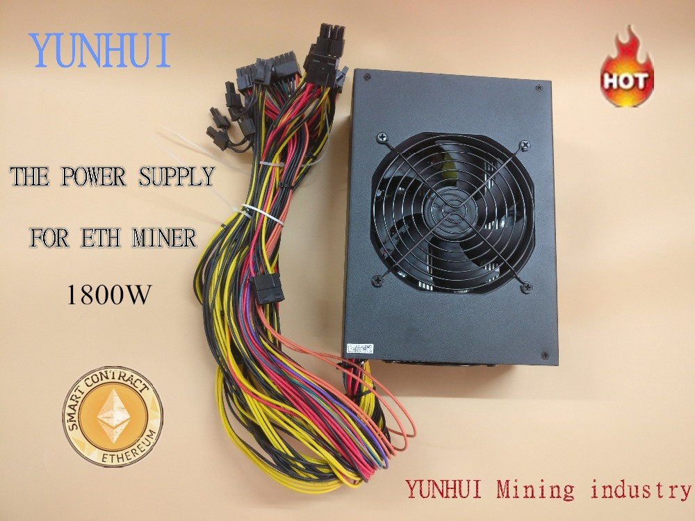 YUNHUI Eth miner power supply 1800W 12V 150A output. Including SATA port 4P 6P 8P 24P connectors USE FOR RX470 RX480 RX570 6 GPU