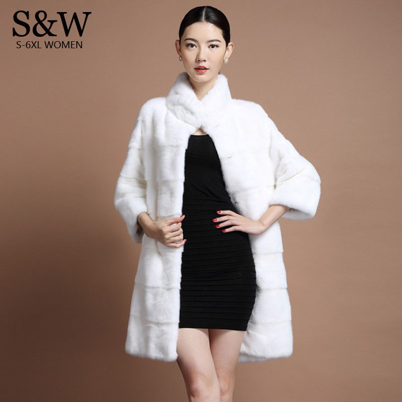 7fb5149aa79 XXXL 4X 5XL 6XL Plus Size Women s Mandarin Collar Stripe Section Long Mink  Fur Coat Winter Faux Rabbit Fur Coats Cheap Fur Coat-in Faux Fur from  Women s ...