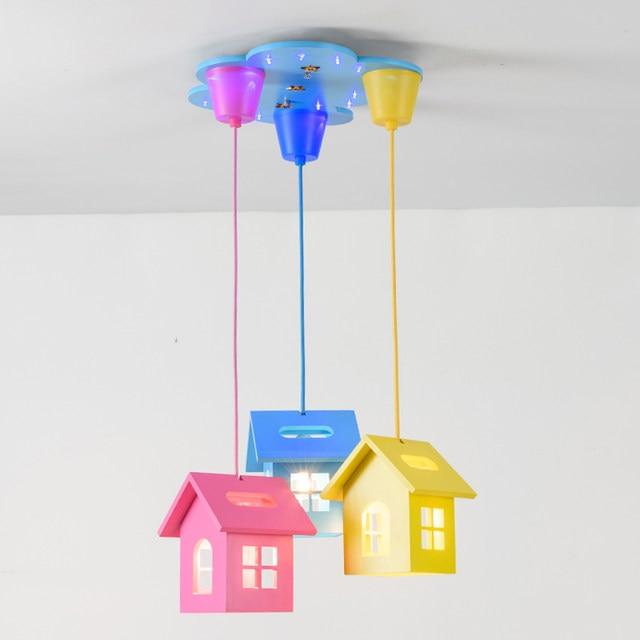Cartoon Small House LED Pendant Lamp Warm Bedroom Childrenu0027s Room Lamp  Kindergarten Lamp Boy And Girl Light ZA1027457