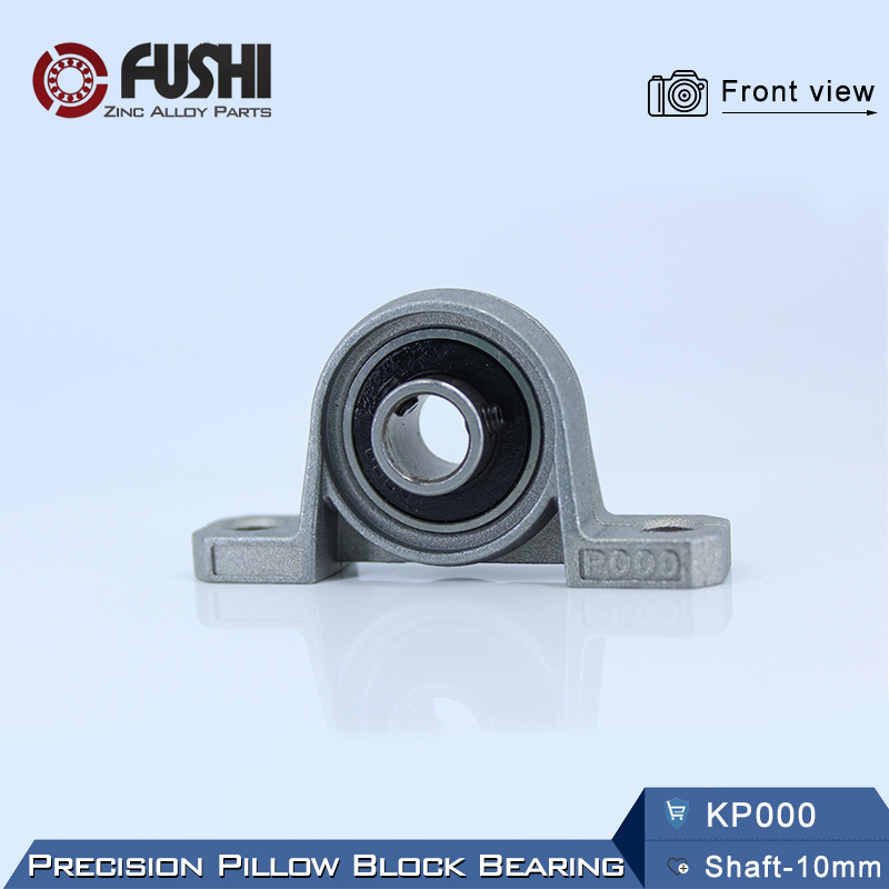KP000 Bearing (4PCS) 10mm Shaft Support Spherical Roller Zinc Alloy Mounted Bearings Kirksite Insert Pillow Block Housing 2pcs precision kp001 bearing shaft 12mm diameter zinc alloy pillow block mounted support ball bearings housing roller mayitr