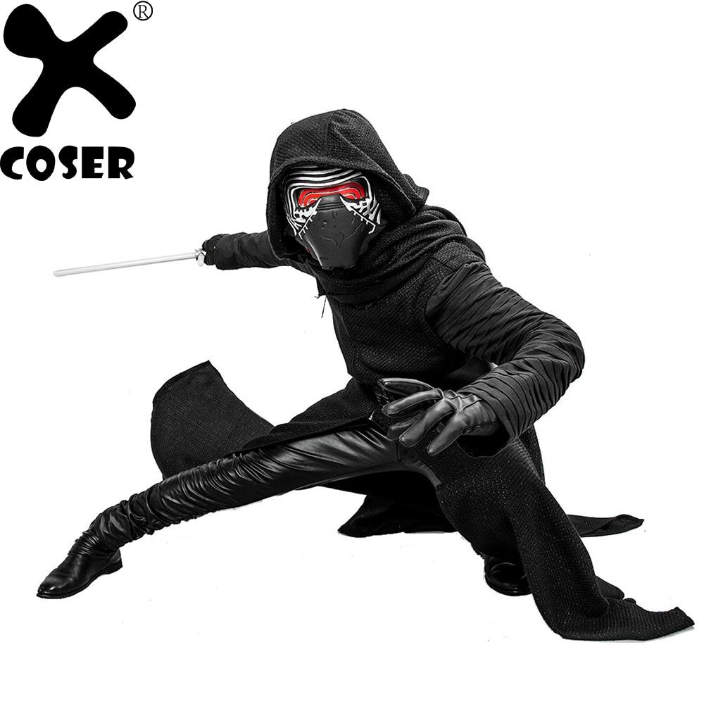 XCOSER Star Wars VII The Force Awakens Kylo Ren V2 Version Costume Suit Adult Men Halloween Festival Black Cosplay Costume Sets
