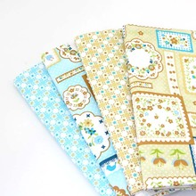4pcs Collage Decorative pattern 100% cotton fabric light color blue yellow for DIY Sewing Patchwork cloth Tilda Quilting 50*40cm