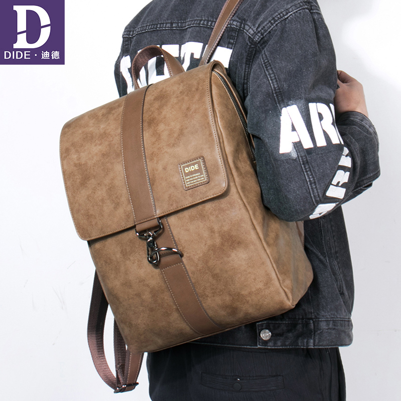 DIDE Anti-theft waterproof 14 inch laptop backpack men PU leather Cover school bags for teenage girls bag travel bag female 789 men s backpack anti theft usb charging travel backpack waterproof nylon unisex school bags for female laptop business backpack