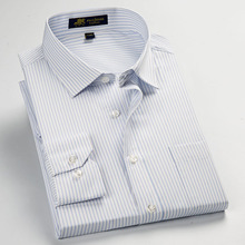 Factory Sale high quality 2018  new Autumn plus size long sleeve striped men dress shirts 5xl  regular fit non-iron easy care