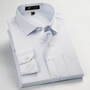 Image 5 - عالية الجودة جديد الصيف/الربيع حجم كبير S ~ 5xl طويلة الأكمام مخطط الرجال فستان قمصان منتظم صالح غير الحديد سهلة الرعاية