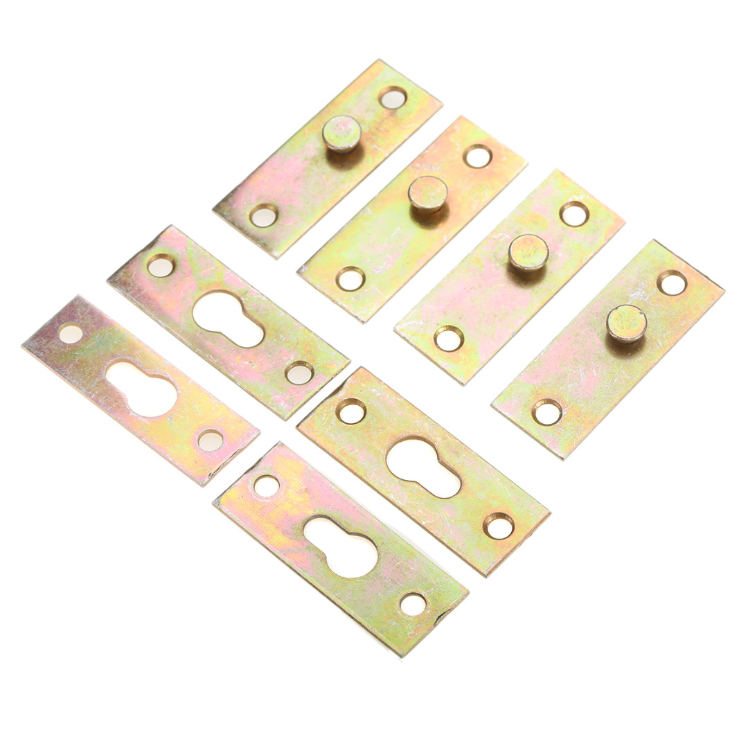 Mayitr 4pcs Bed Bracket Brass Tone Furniture Wood Bed Rail Bracket Fittings Hook Plate C ...