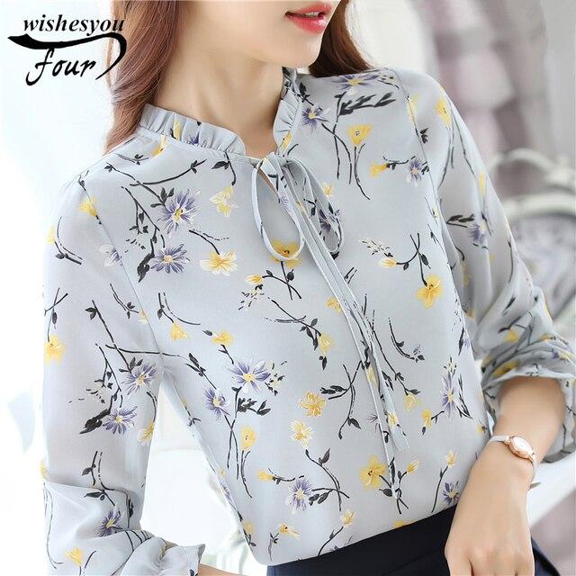 6987695f7089d 2017 New spring autumn Black Red White Chiffon Blouse Women Autumn Long  Sleeve Ladies Office Shirts Korean Fashion Cas 288J