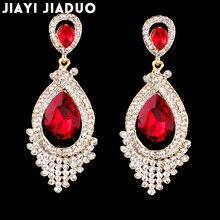 Boucles d'oreilles longues en cristal pour Femmes, lustre rouge/blanc, boucles d'oreilles de mariée, bijoux de mariage, pendentifs de fête