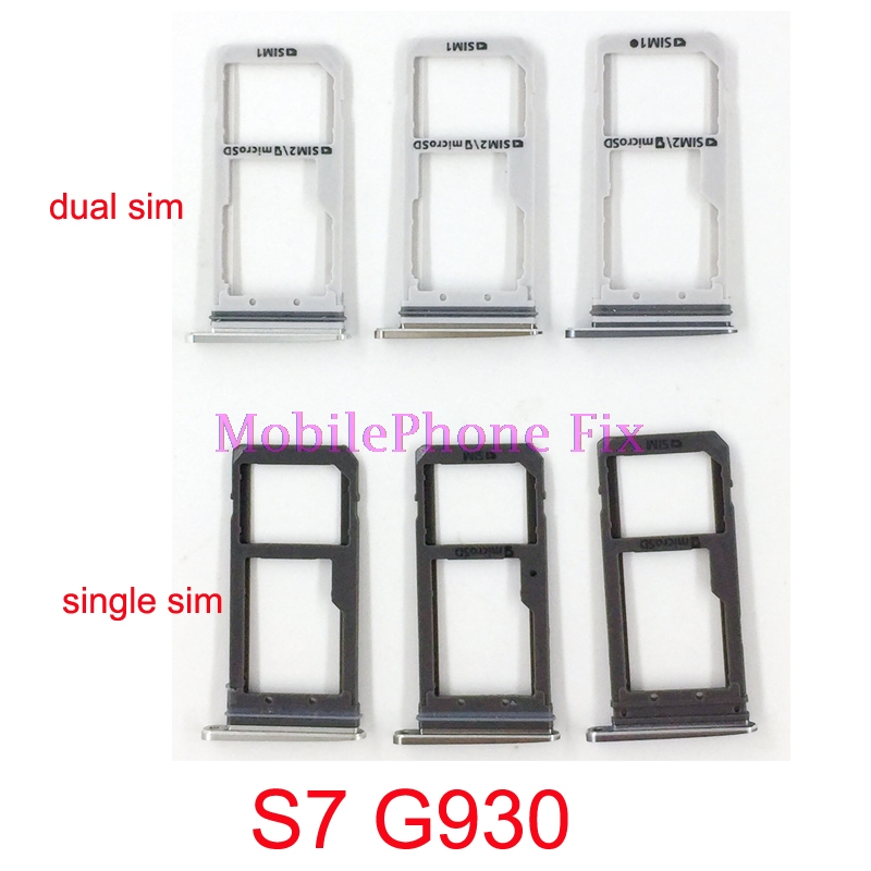 2 PCS Sim Card Tray For Samsung Galaxy S7 G930 Single / Dual Sim Housing Parts Sim Card Tray Slot Holder Repair Parts
