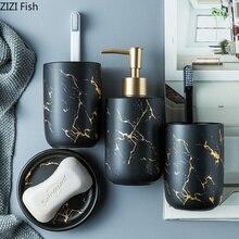 Керамическая имитация мрамора набор аксессуаров для ванной комнаты инструменты для мытья бутылки для полоскания рта чашки мыло зубная щетка держатель предметы домашнего обихода