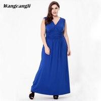 Wangcangli Hot Style 2017 Summer New Vestidos European And American Fashion Sleeveless V Neck Large Dress