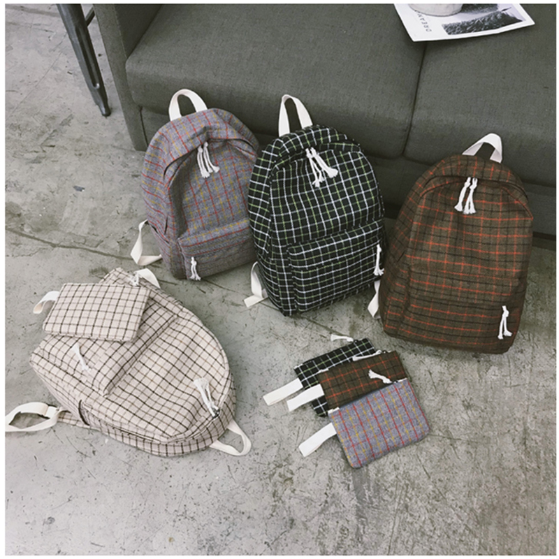 Image 3 - 2 Pieces Japan style Plaid Style Women Backpack Pencil Case Student Girl School Bag Travel Shoulder Bag For Women 2019 Bagpack-in Backpacks from Luggage & Bags