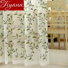 Blue Embroidered Voile Curtain Bedroom Window Tulle Green Voile Curtains For Living Room Curtain Kitchen Sheer