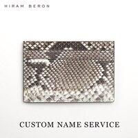 Hiram Beron CUSTOM NAME FREE Snakeskin Wallet Case Credit Card Holder Luxury Wallet Python Skin Holiday