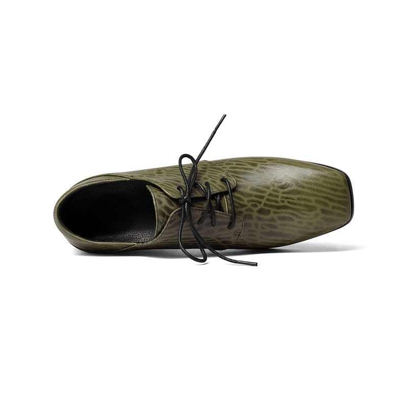 ZVQ/обувь из натуральной кожи на шнуровке на необычном каблуке с квадратным носком; модельные туфли; удобные весенние туфли-лодочки для женщин