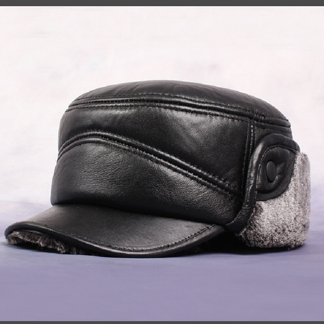 2305e5be Men'S Real Sheepskin Leather Baseball Caps Flat-Topped Large Ear'S Tab Hats  Thicker Winter Warm