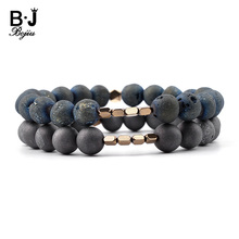 BOJIU Natural Matte Druzy Agates Stone Round Beads Bracelet For Women Gold-color Copper Nugget Gray Drusy Jewelry BC271