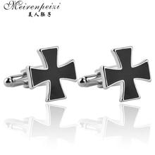 Черный крест, эмалированные запонки для мужчин, французская рубашка, мужские модные дизайнерские запонки из цинкового сплава, ювелирные изделия, свадебные деловые подарки на Рождество