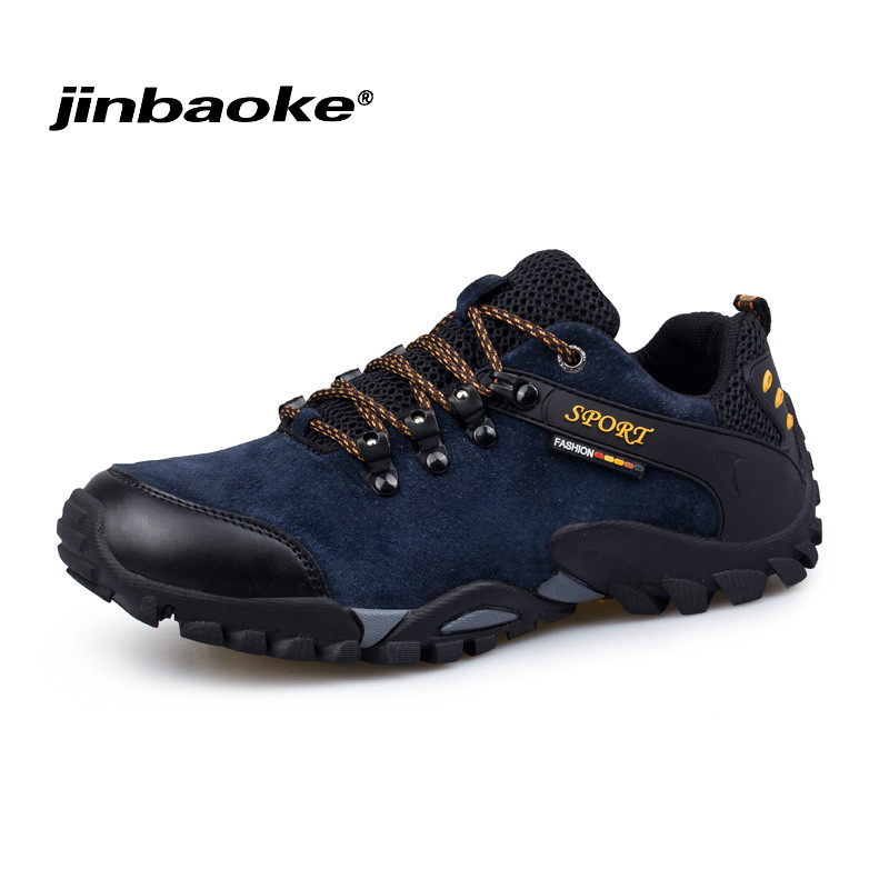 JIBAOKE 2018 Genuine Leather Hiking Shoes Men Outdoor Trekking Sneakers Autumn Winter Mountain Boots Outdoor Man Climbing Shoes kerzer outdoor shoes men autumn winter hiking boots slip on trekking shoes leather mountain climbing sneakers