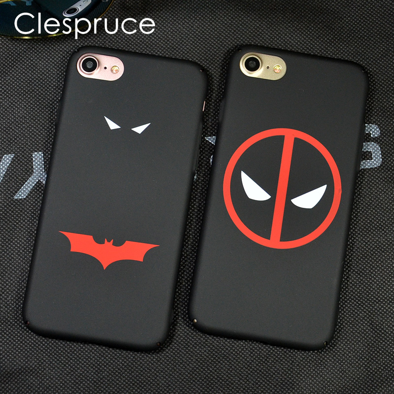 Clespruce Luxury Batman Deadpool Case For iPhone X 6 6s 7 8 Plus 6sP 7P 8P Phone Cover Coque Super Hero Black Hard Fundas Capa