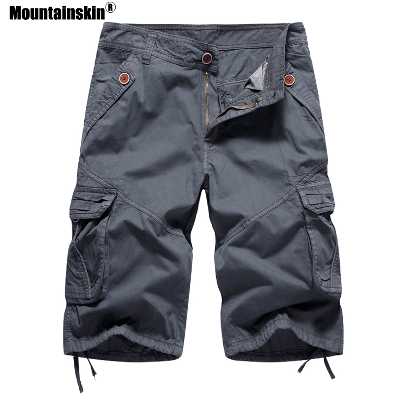 Mountainskin Summer Men's Cargo Shorts Knee Length Military Camo Male Jogger Casual Loose Board Shorts Men Brand Clothing SA513