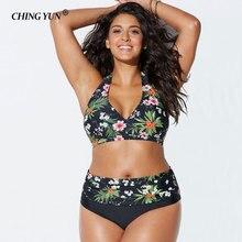 Hot Sale Women's Swimsuit Bikinis Sexy Large Size Plus Size Style Swimwear Ethnic Print Beachwear High Waist 2 Set Bathing Suit